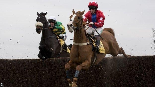 Sire De Grugy (right) jumping with Mr Mole at Newbury