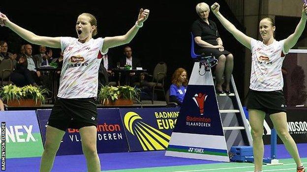 Danish players celebrate victory