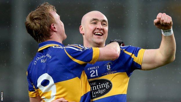 Deaglan Murphy and Gavin Bell embrace after Rossa's All-Ireland Intermediate Hurling triumph