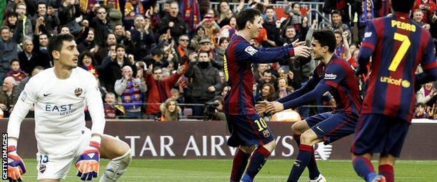 Lionel Messi and Marc Bartra