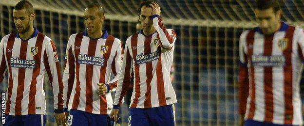 Atletico Madrid players look frustrated