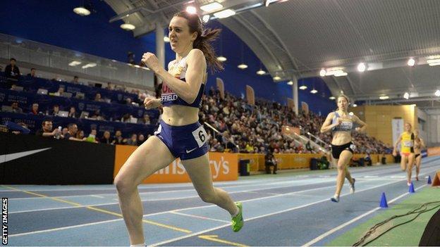 Laura Muir on her way to winning the 1500m