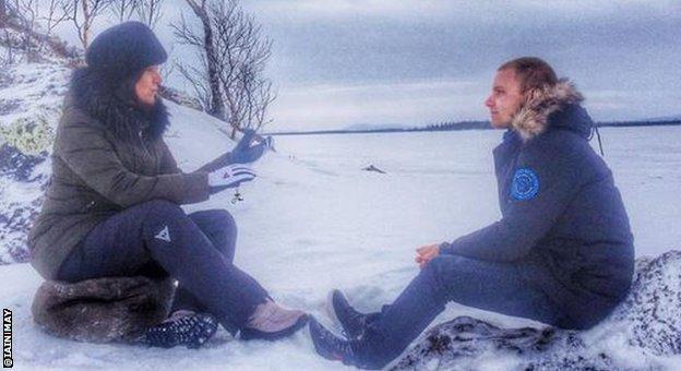 BBC F1 reporter Lee McKenzie interviewing Valtteri Bottas