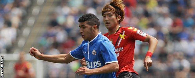 Zakaria Bakkali in action for PSV Eindhoven