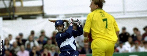 George Salmond in action against Australia at the 1999 Cricket World Cup