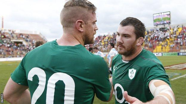 Damien Varley with Ireland team-mate Jamie Heaslip after the win over Argentina last summer