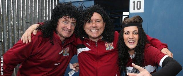 Northampton Town fans celebrating John-Joe O'Toole Day