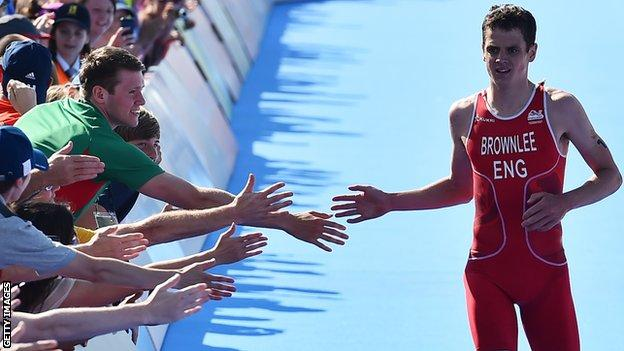 Jonny Brownlee on his way to winning triathlon silver at last year's Commonwealth Games