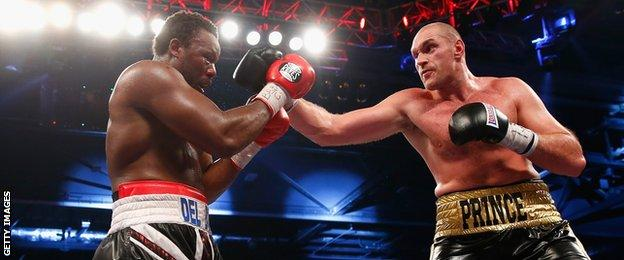 Dereck Chisora (left) fights Tyson Fury