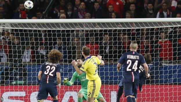 Branislav Ivanovic celebrates Chelsea's first goal against PSG
