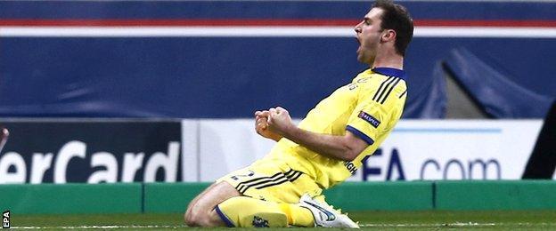 Branislav Ivanovic of Chelsea celebrates his goal