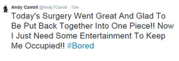 Andy Carroll's tweet