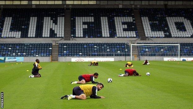 Linfield lie three points behind Crusaders in the Premiership table