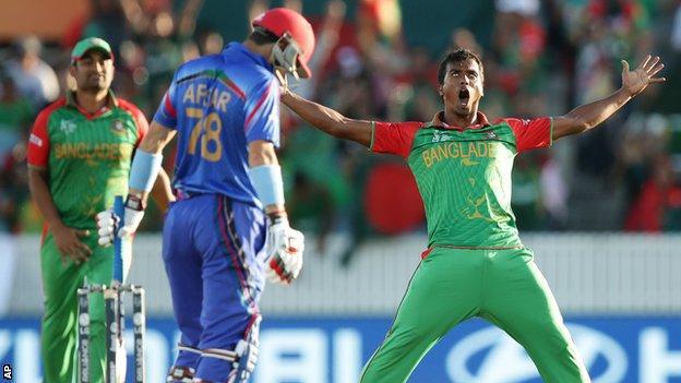 Bangladesh's Rubel Hossain celebrates a wicket