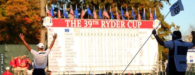 Martin Kaymer's winning putt clinched the Ryder Cup for Europe at Medinah in 2012