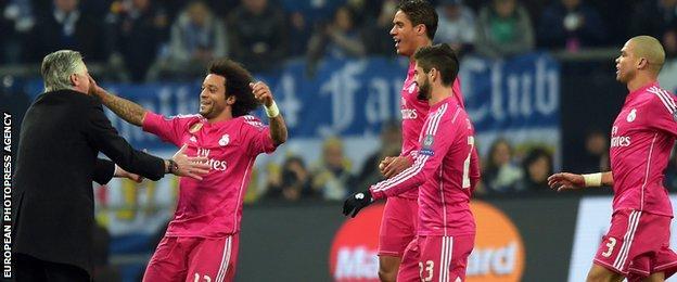 Real Madrid celebrate in Schalke