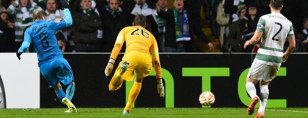Rodrigo Palacio pounced on Celtic goalkeeper Craig Gordon's fumble to put Inter 3-2 ahead
