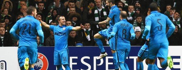 It did not take Inter Milan long to take a 2-0 lead at Celtic Park