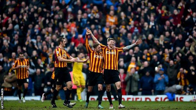 Jon Stead (right) is congratulated after scoring Bradford's second goal