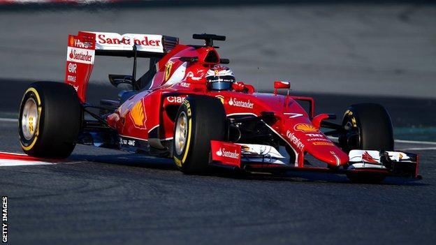 Kimi Raikkonen in action during day one of Formula 1 winter testing at Circuit de Catalunya