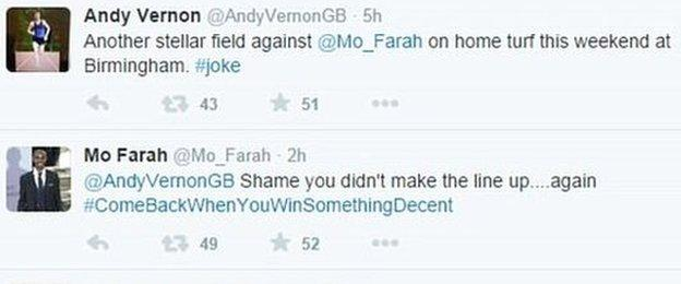 Andy Vernon and Mo Farah on Twitter