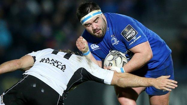 Michele Visentin attempts to tackle Leinster prop Marty Moore