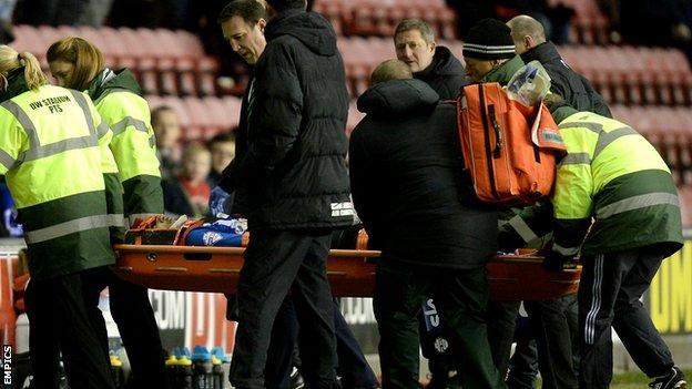 Wigan striker Leon Clarke