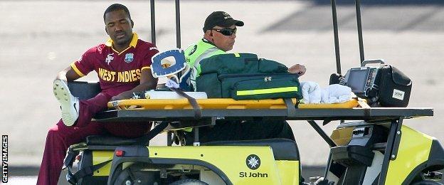 Darren Bravo of West Indies leaves the field