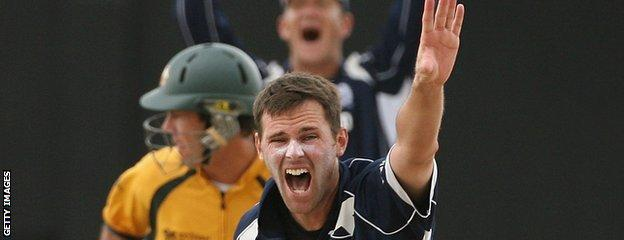 Craig Wright in action for Scotland against Australia at the 2007 Cricket World Cup