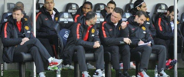 The Manchester United bench at Swansea