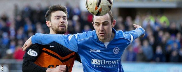 Defender Dave Mackay keeps Dundee United's Paul Paton at bay