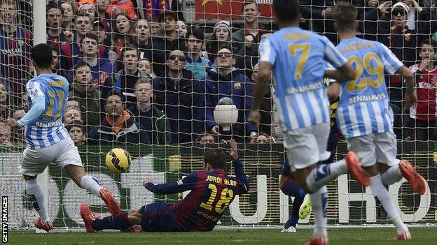 Malaga goal from Jiminez Lopez