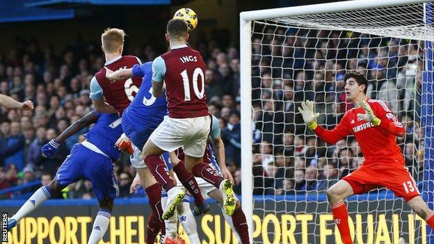 Ben Mee scores Burnley's equaliser at Chelsea