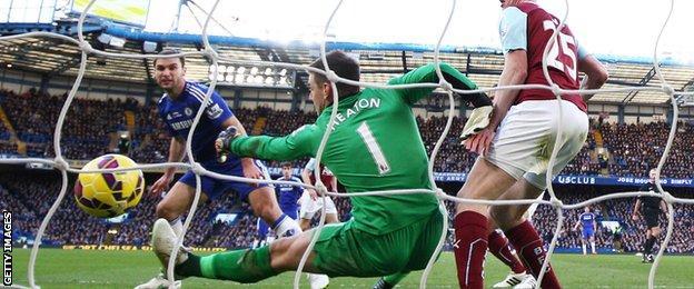 Chelsea defender Branislav Ivanovic puts Chelsea ahead against Burnley
