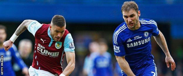 Burnley midfielder Michael Kightly (left) and Chelsea defender Branislav Ivanovic