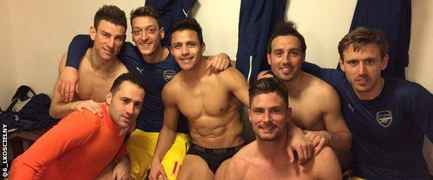Arsenal players following their 2-1 win at Crystal Palace