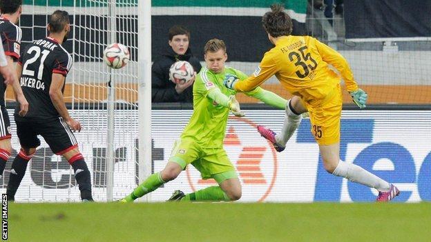 Augsburg goalkeeper Marwin Hitz scoring against Bayer Leverkusen