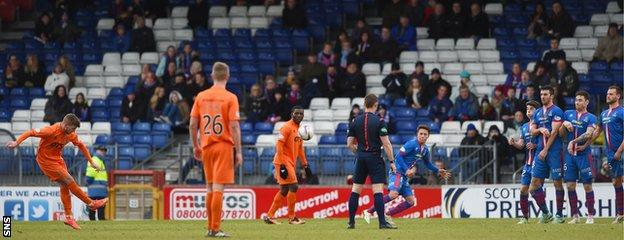 Craig Slater fires in Kilmarnock's second from a free-kick