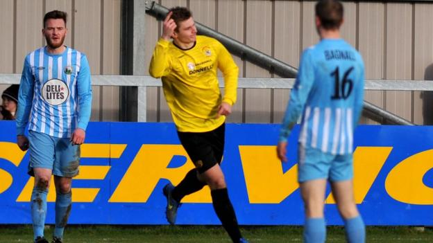 Andrew Mitchell celebrates the goal which earned Dungannon Swifts a 1-1 draw with Warrenpoint Town