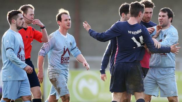 Tempers became frayed at Drumahoe as bottom club Institute hosted Ballinamallard United