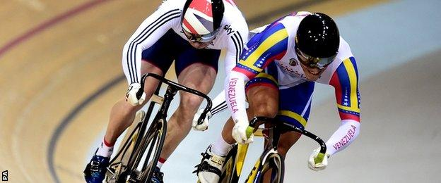 Great Britain's Jason Kenny (left) is beaten to the line by Venezuala's Hersony Canelon