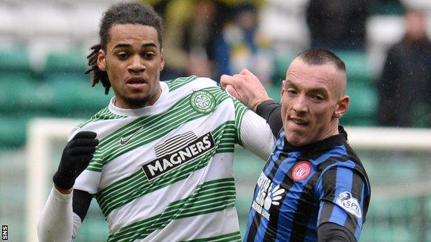 Celtic's Jason Denayer and Accies' Darian Mackinnon
