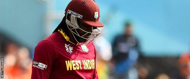 Chris Gayle dismissed for four against Pakistan