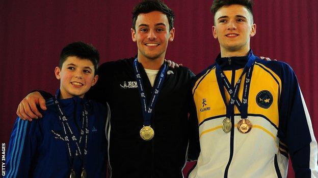 Matthew Dixon of Plymouth Diving, Gold Medallist Tom Daley of Dive London Aquatic Centre and Bronze Medallist Matty Lee