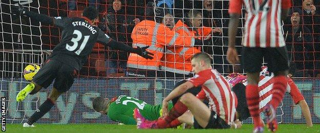 Raheem Sterling scores Liverpool's second goal against Southampton