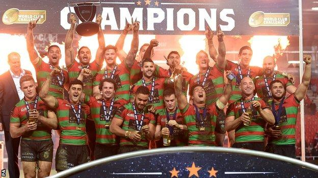 South Sydney Rabbitohs with the World Club Challenge trophy
