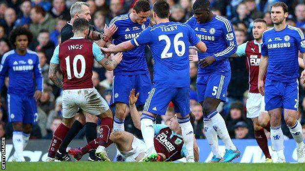 Chelsea midfielder Nemanja Matic (fourth from left) pushed Ashley Barnes to the ground