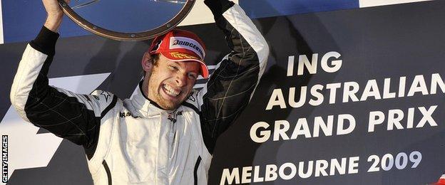 Jenson Button celebrates winning Australian Grand Prix