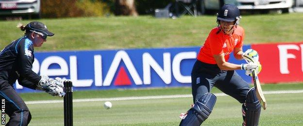 England women's captain Charlotte Edwards in action against New Zealand