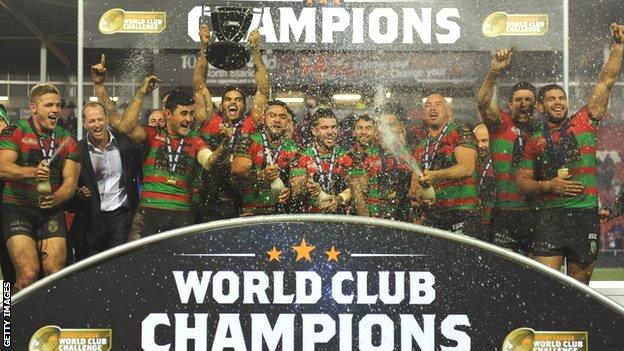 South Sydney Rabbitohs celebrate their World Club Challenge win over St Helens